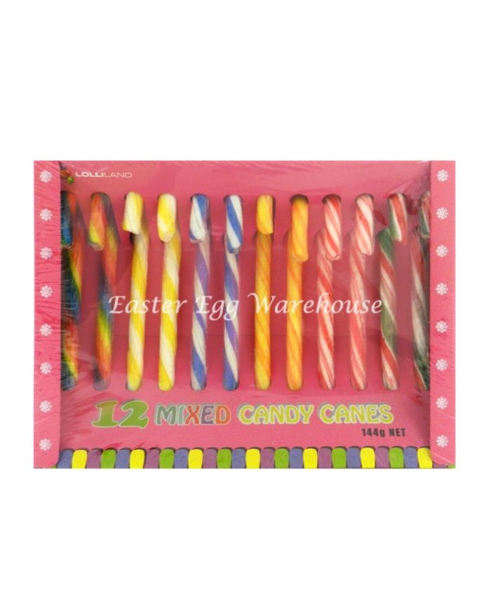 Assorted Coloured Candy Canes 12pk