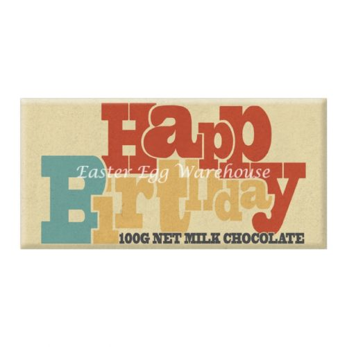 Retro Happy Birthday - Milk Chocolate Bar 100g