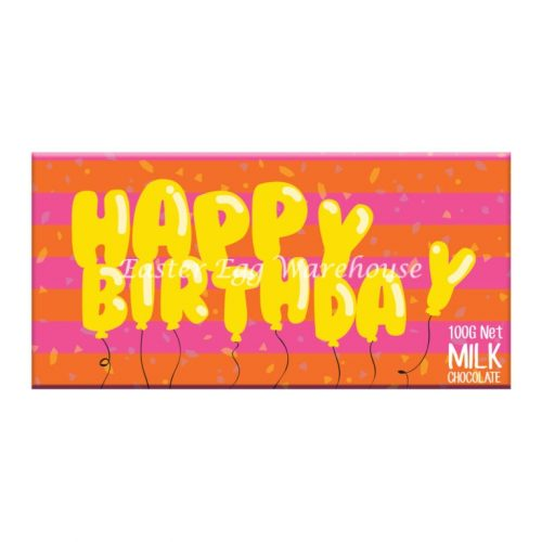 Happy Birthday Balloon Letters - Milk Chocolate Bar 100g