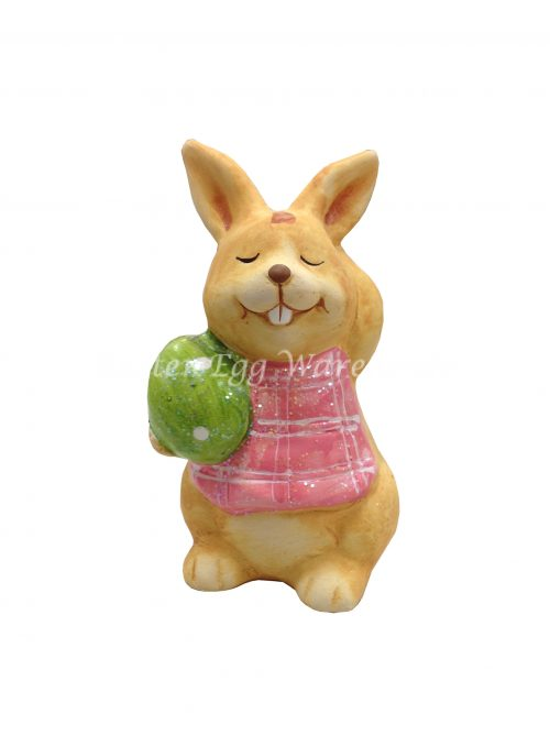 Terracotta Glitter Bunny 10cm with Pink Egg