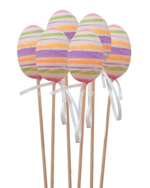 Decorative Striped Eggs on Picks 6pk