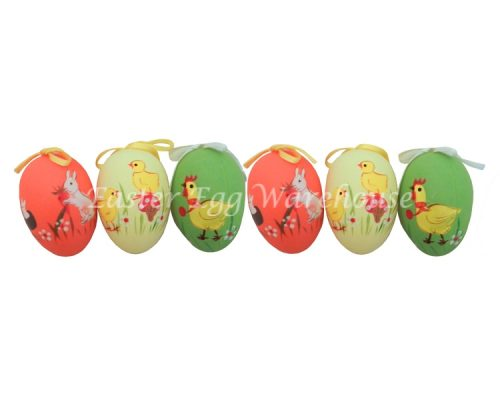 Decorative Painted Easter Eggs 6pk - Orange, Yellow & Green