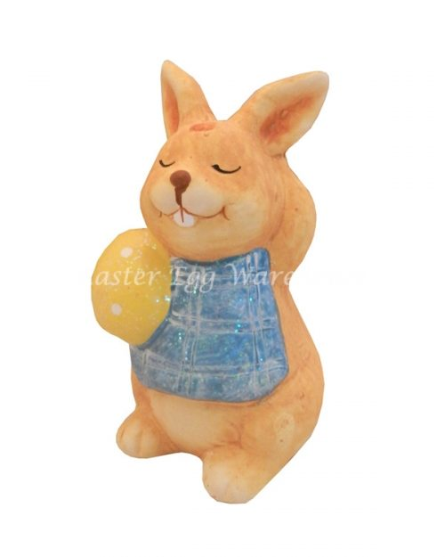 Terracotta Glitter Bunny 10cm with Yellow Egg