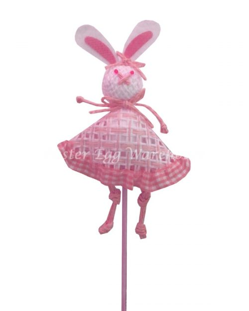 Decorative Paperstring Easter Bunny Pick - Pink