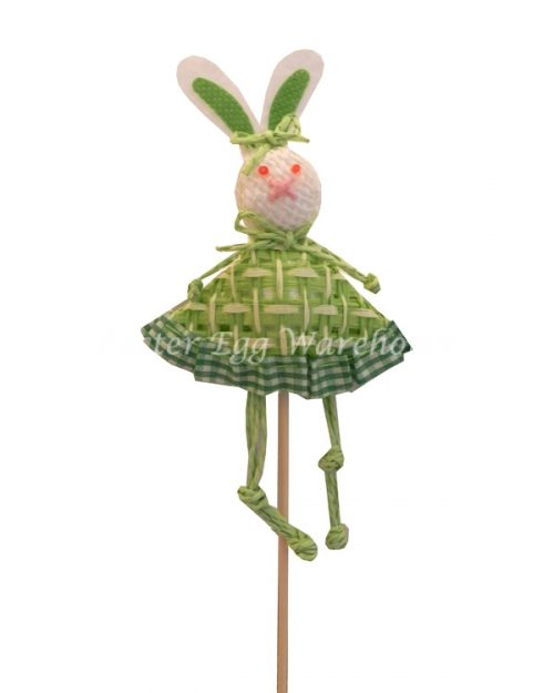 Decorative Paperstring Easter Bunny Pick - Green
