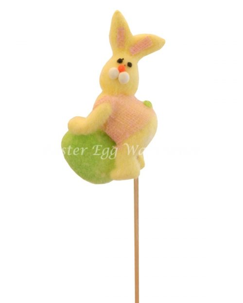 Bunny Leaning On Egg Pick - Yellow