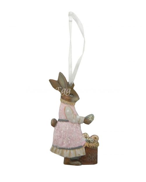 Pink Rabbit with One Basket Hanging Decoration