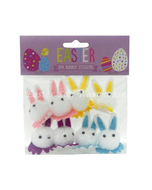Easter Bunny Pom Pom Stickers 8pk