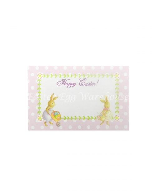 Happy Easter Gift Tag - Pink with Easter Bunnies