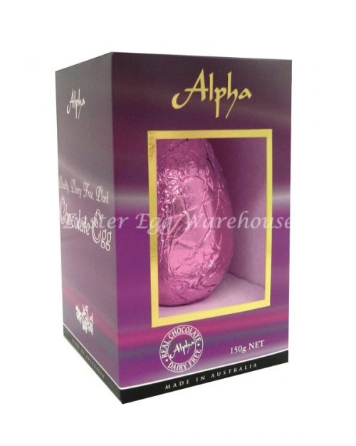 Alpha Dairy Free, Nut Free Chocolate Egg 150g - Pale Pink Foil