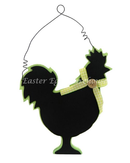Blackboard Chicken - Green with Yellow Bow Hanging