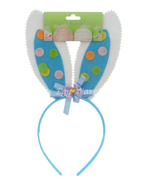 Blue Bunny Headband with Polka Dots