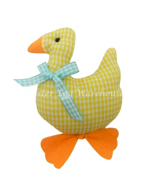 Hanging Soft Duck - Yellow Gingham