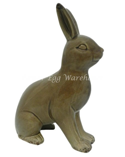 Ceramic Bunny Statue Standing - Brown