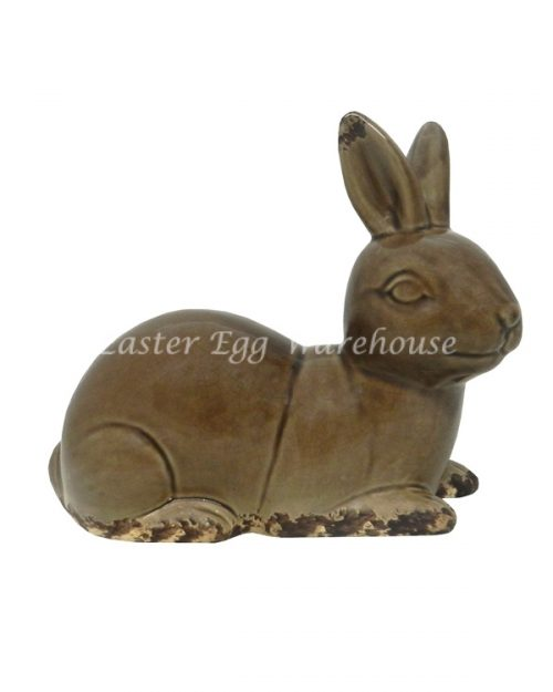 Ceramic Bunny Statue Sitting - Brown