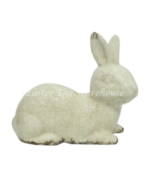 Ceramic Bunny Statue Sitting - Cream