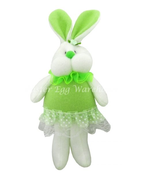 Easter Bunny Soft Toy with Frilly Dress - Green