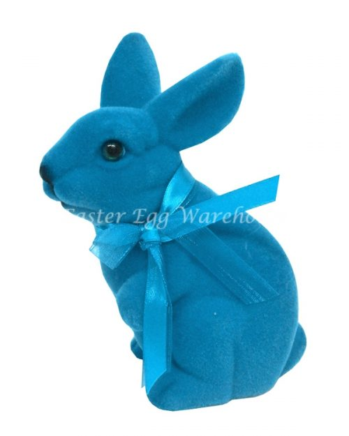 Flocked Blue Standing Bunny 16.5cm