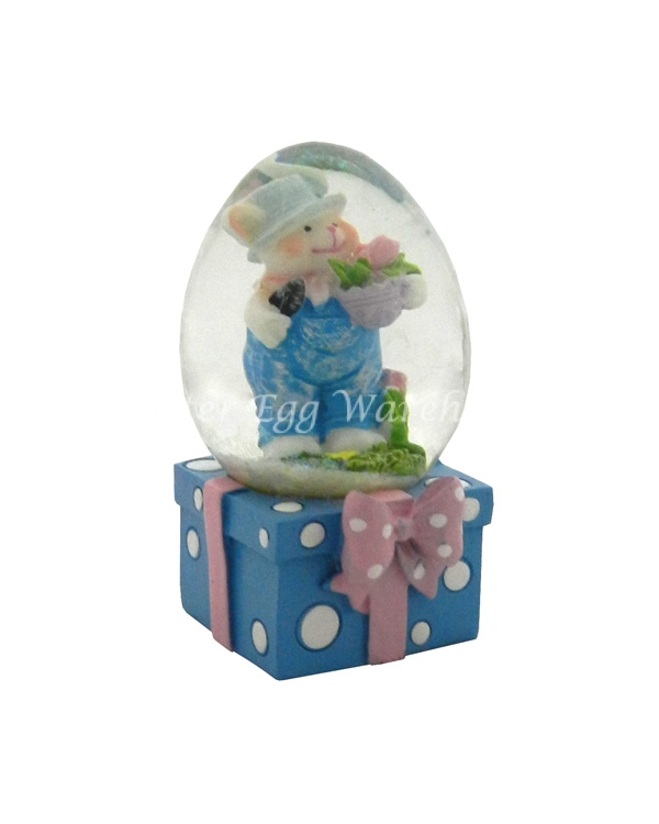 Snowglobe Blue Bunny with Overalls