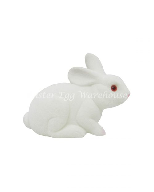 Flocked Pink Sitting Bunny 13cm