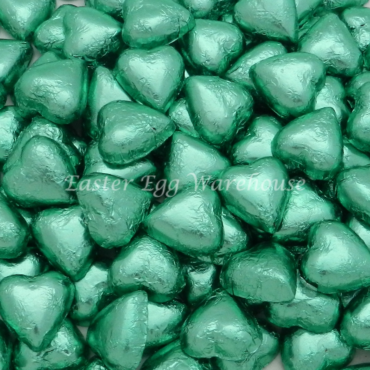 Milk Chocolate Hearts - Light Green 500g