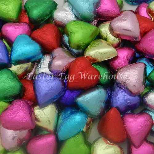 Milk Chocolate Hearts - Assorted Colours 500g