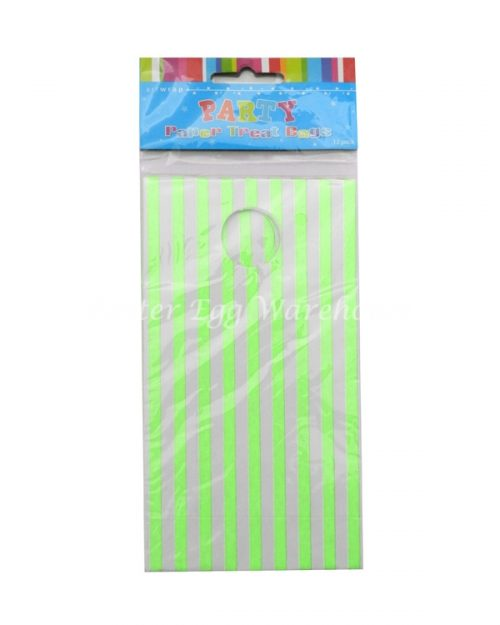 Green & White Stripe Treat Bags 12pk