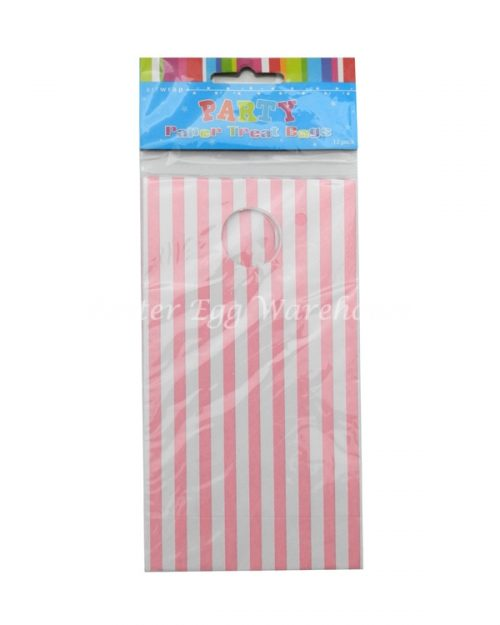 Pink & White Stripe Treat Bags 12pk