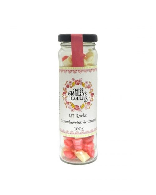 Miss Molly's Lollies Li'l Rocks Strawberries & Cream 100g