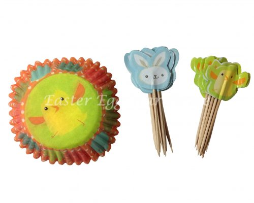 Easter Bakery Cups & Toppers 24PC