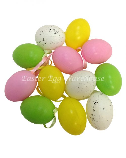 Colourful Easter Eggs Hang (plastic) 5cm 12pk