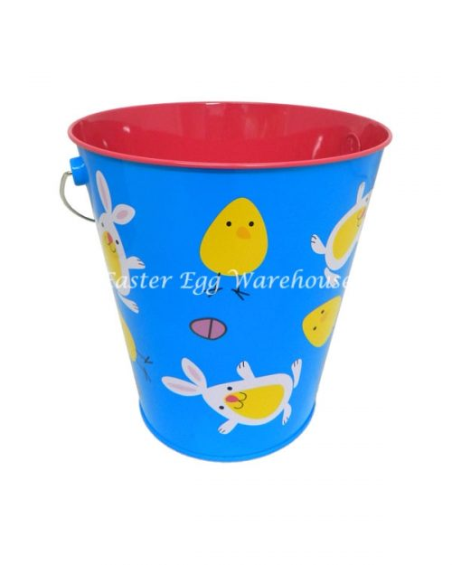 Blue Chicks and Bunnies Metal Bucket 17.5cm