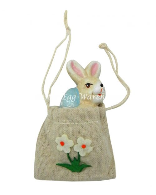 Bunny in Pouch - Blue Egg