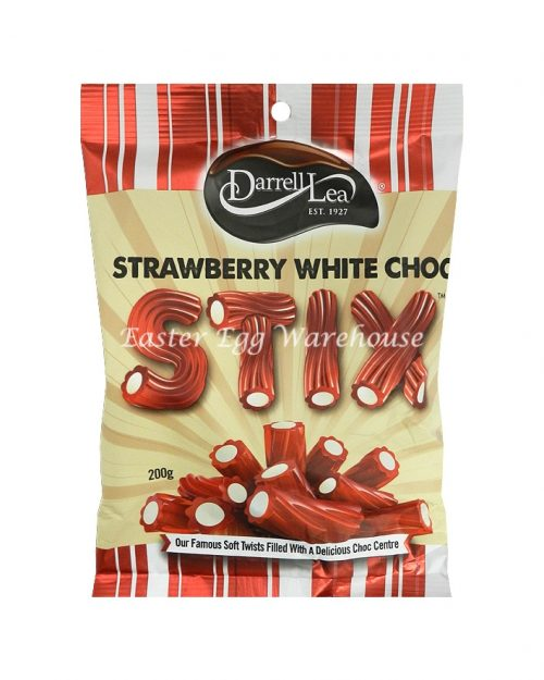 Darrell Lea Strawberry White Chocolate Liquorice Stix 200g