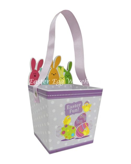 Mauve Spotted Happy Easter Basket with Ribbon Handle 21cm