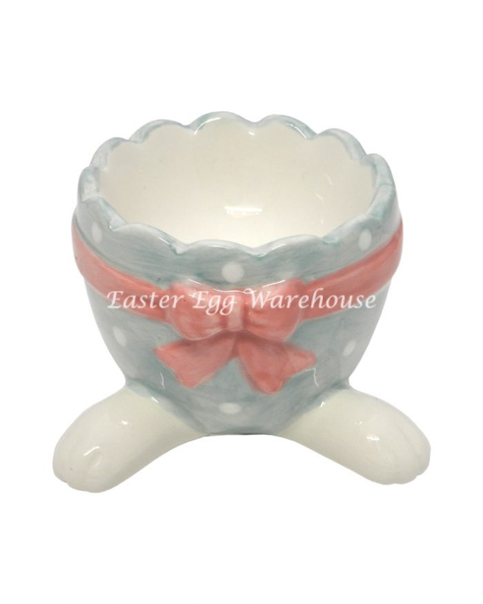 Ceramic Rabbit Feet Egg Cup with Pink Bow