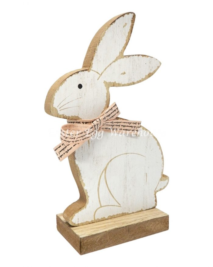 Wooden Rabbit on Stand with Bow