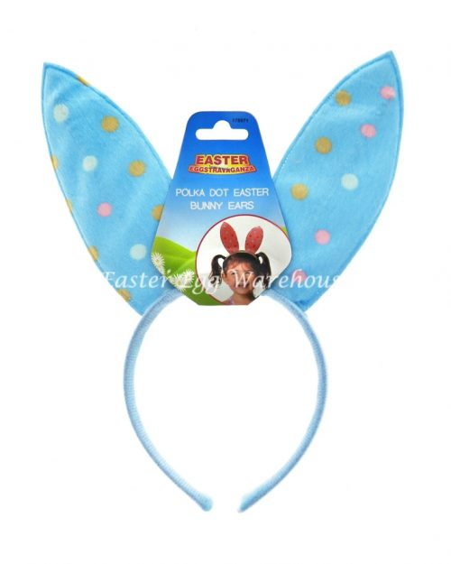 Blue Polka Dot Easter Bunny Ears