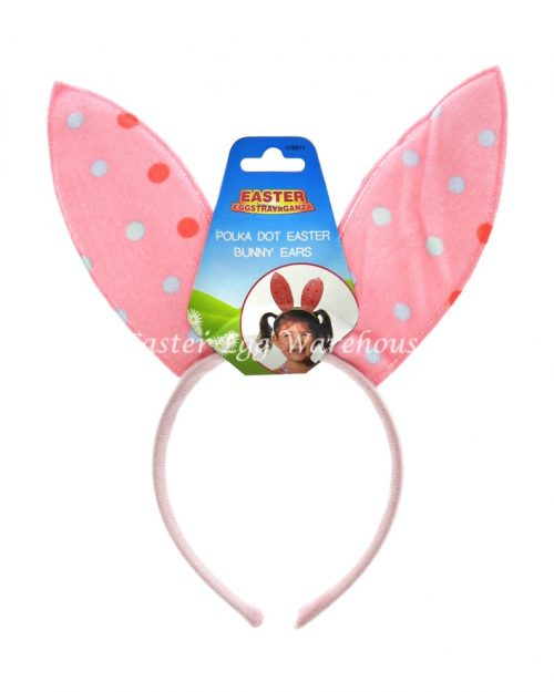 Pink Polka Dot Easter Bunny Ears