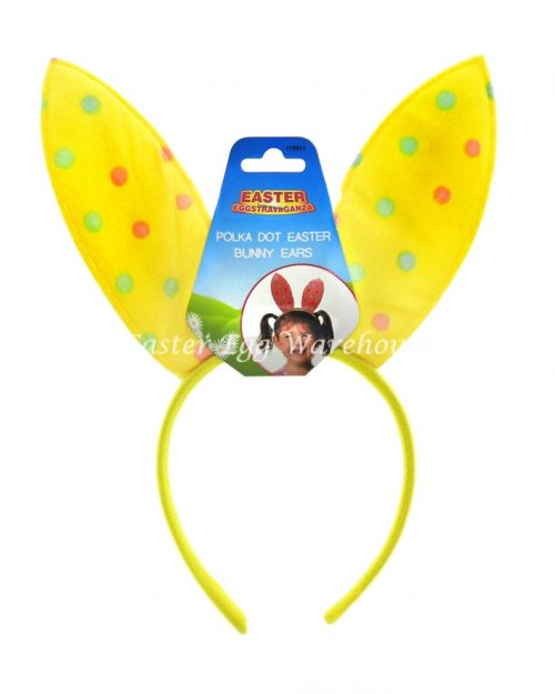 Yellow Polka Dot Easter Bunny Ears
