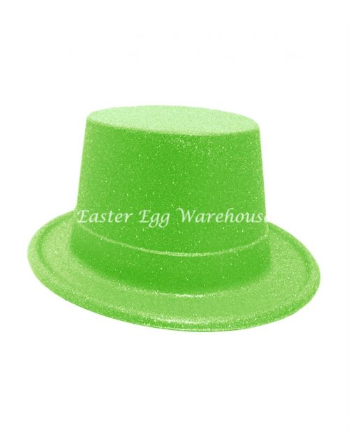 Easter Plastic Glitter Top Hat - Green