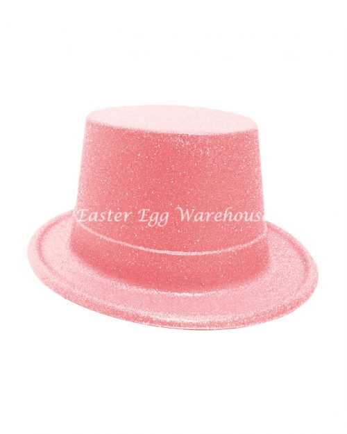 Easter Plastic Glitter Top Hat - Pink