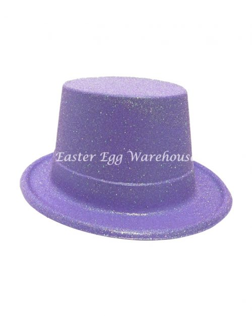 Easter Plastic Glitter Top Hat - Purple