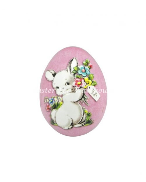 Mini Egg Shape Tin - Pink with Bird
