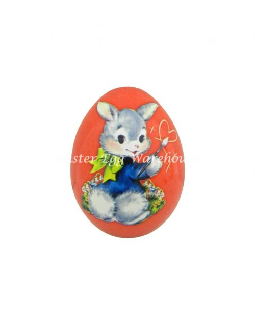 Mini Egg Shape Tin - Red with Bunny