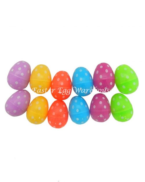 Fillable Hollow Plastic Spotted Easter Egg 6cm 12pk