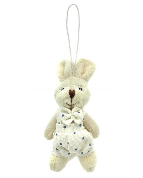 Bunny Hanging Ornament White/Blue 9cm