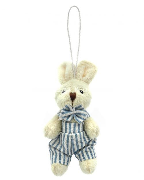 Bunny Hanging Ornament Stripe Overalls 9cm