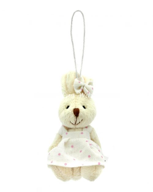 Girl Bunny Hanging Ornament Polka Dot Dress 9cm
