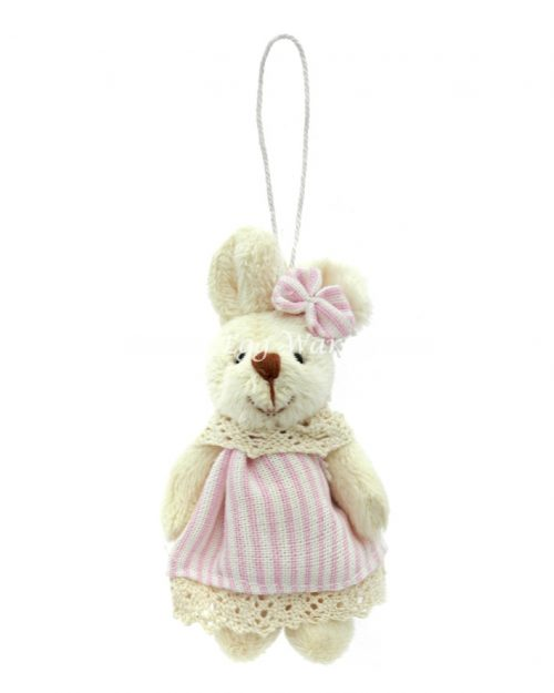 Girl Bunny Hanging Ornament Stripe Dress 9cm